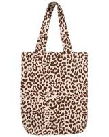 Leopard Canvas Shopper -  nude-black