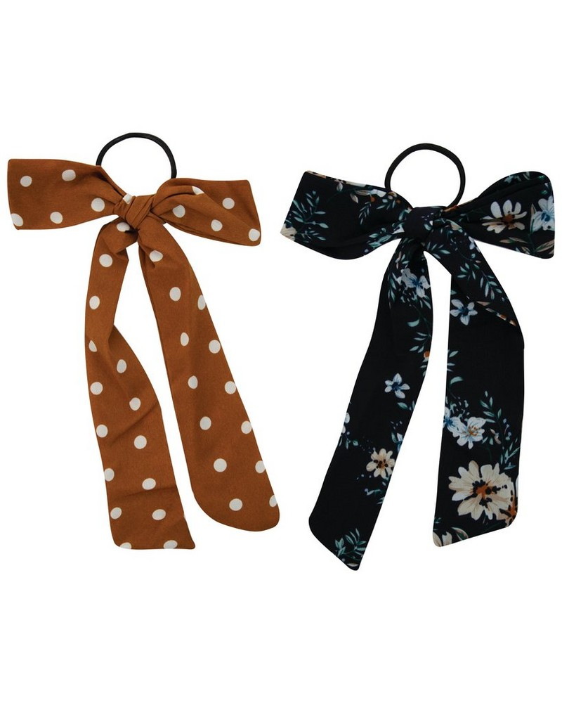 Dot & Floral 2-Pack Hair Ties -  yellow-navy