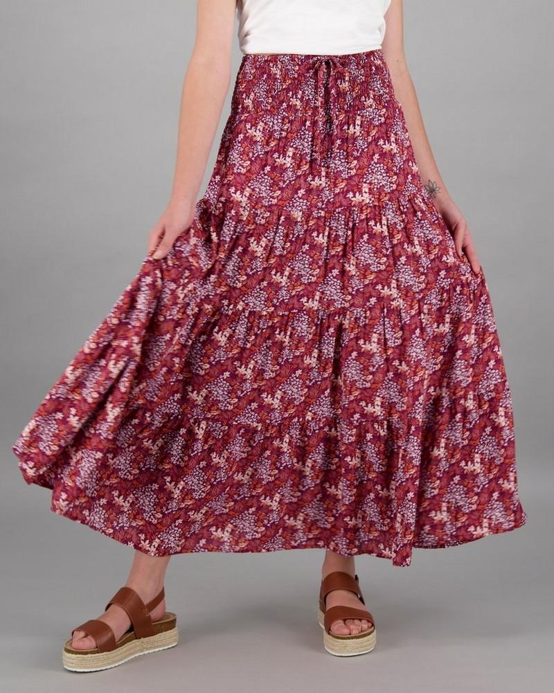 Women's Skye Tiered Skirt -  burgundy-assorted