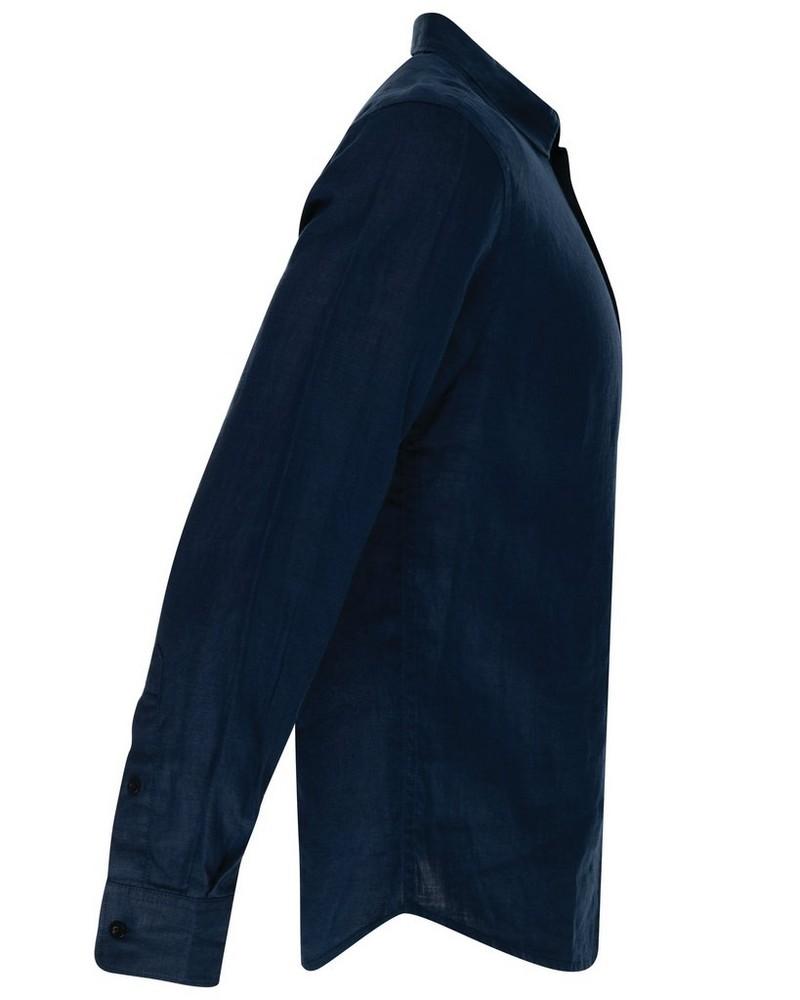 Dustin Slim Fit Linen Shirt -  navy