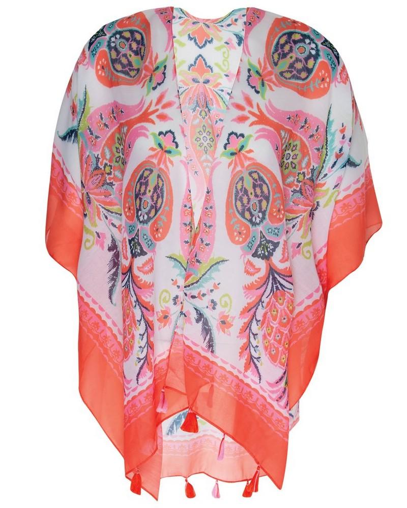 Women's Kaylynn Kimono -  coral-assorted