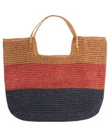 Women's Hadley Straw Tote Bag -  oatmeal-pink