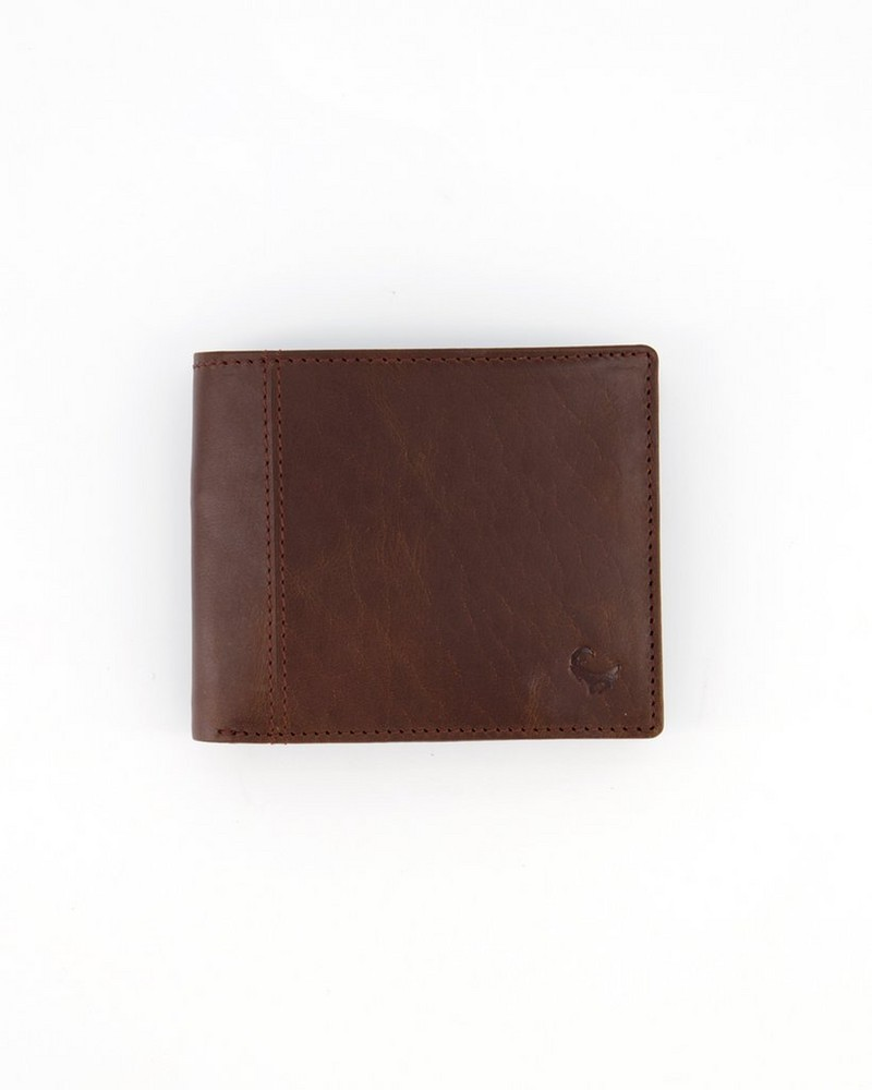 Deacon Distressed Leather Wallet -  brown