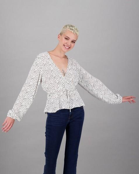 Women's Tizzy Blouse -  white-black