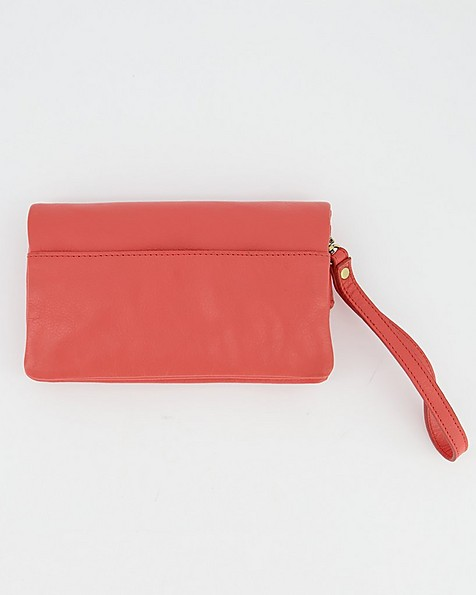 Women's Amelie Leather Fold-Over Cross Body Bag -  coral-pink
