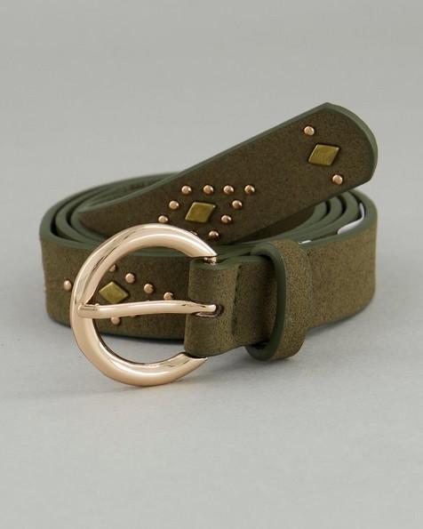 Women's London Vegan Leather Belt -  olive-green