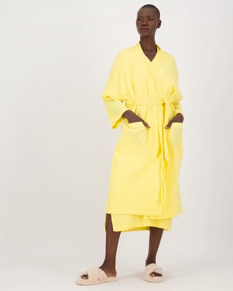Stevie Waffle Gown -  lemon