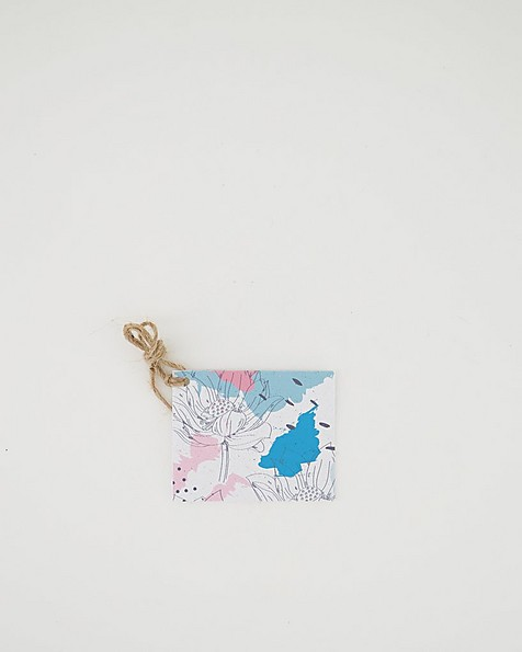 Abstract Blues & Pink Flower Tag -  assorted