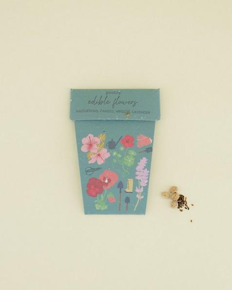Edible Flowers Pot Card -  assorted