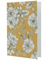 Growing Paper Ochre & White Floral Card -  ochre