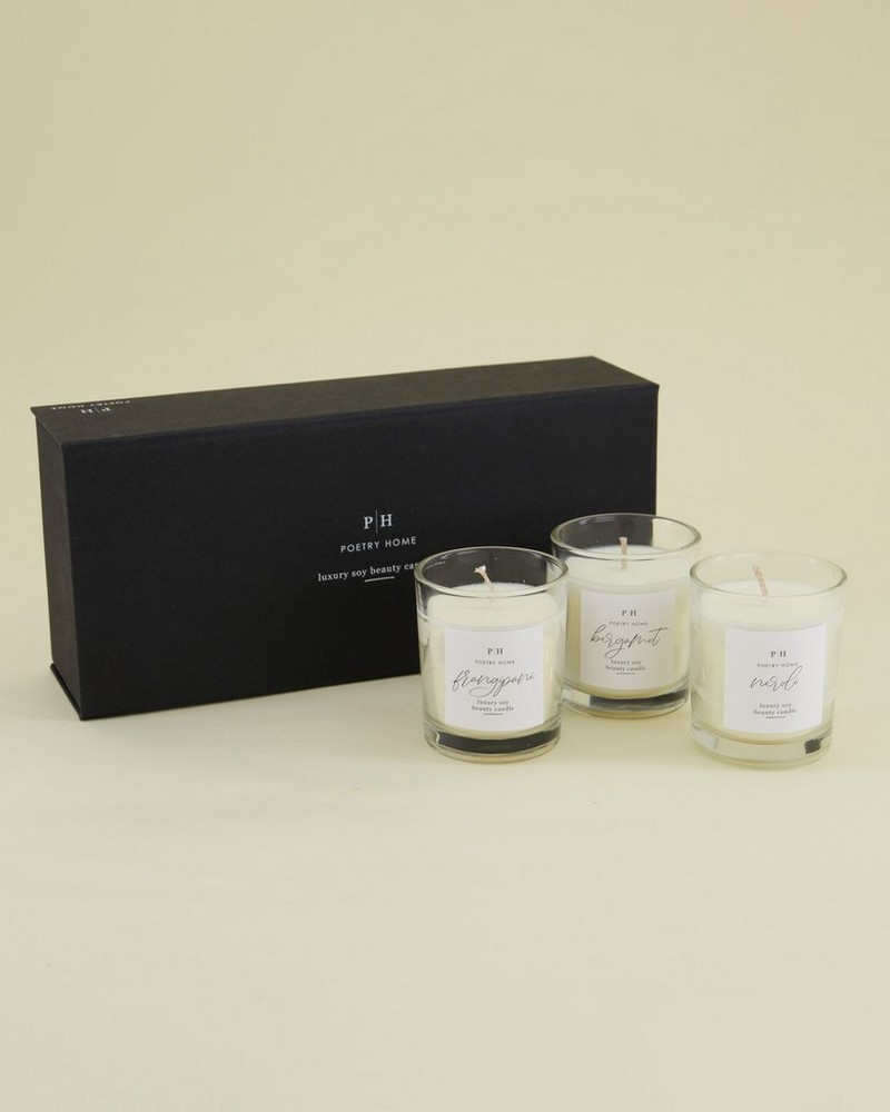 Beauty Soy Candle Gift Set -  black