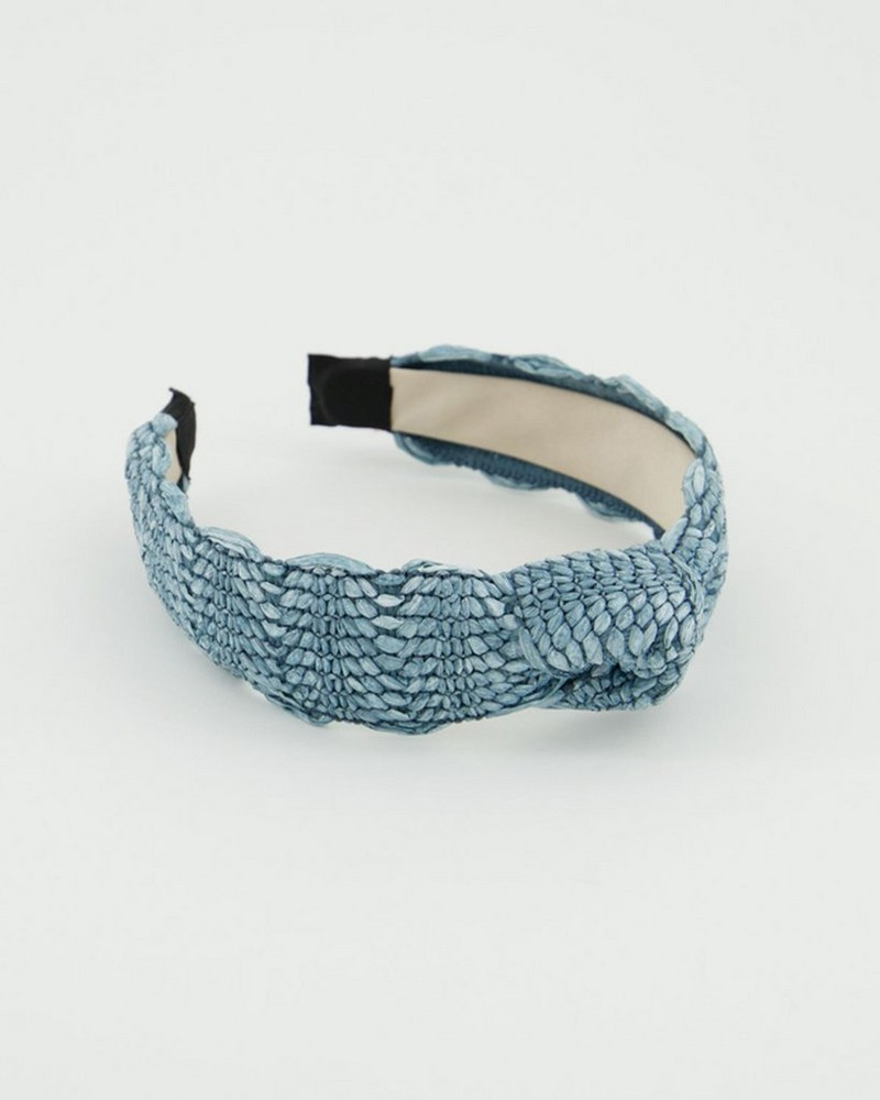 Riona Straw Textured Alice Band -  blue