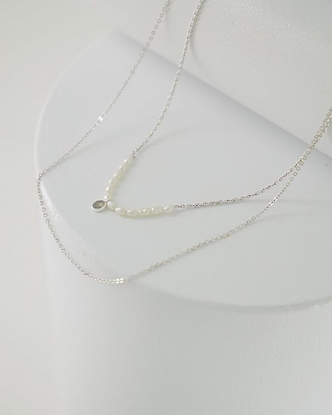 Labradorite and Freshwater Pearl Strand Necklace -  green