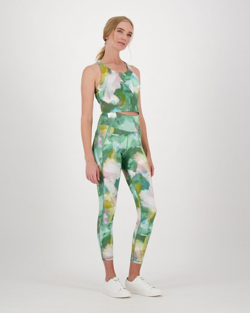 Palmer Printed Leggings -  palegreen