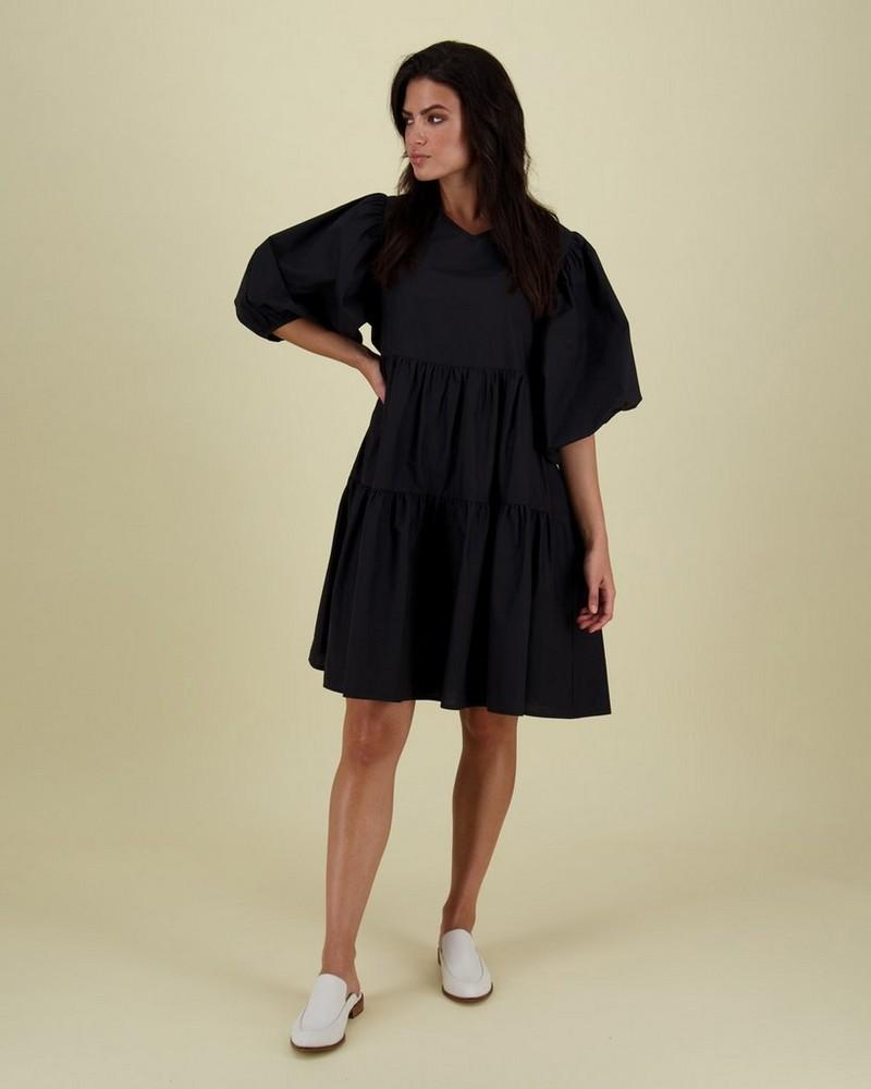 Ross Tiered Dress -  black