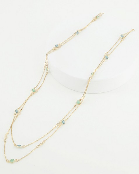 Tiny Glass Stone Satellite Necklace -  blue