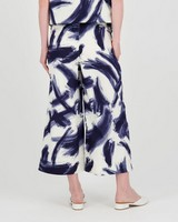 Poetry Tory Blue and White Wide Leg Pant -  white