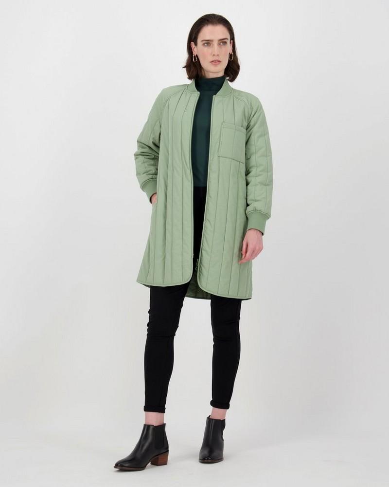 Cali Quilted Coat -  lightolive