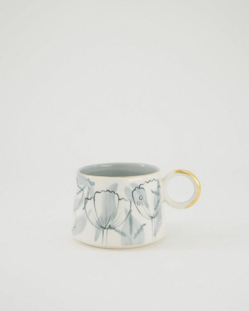 Kapula Grey & Gold Floral Mug -  grey