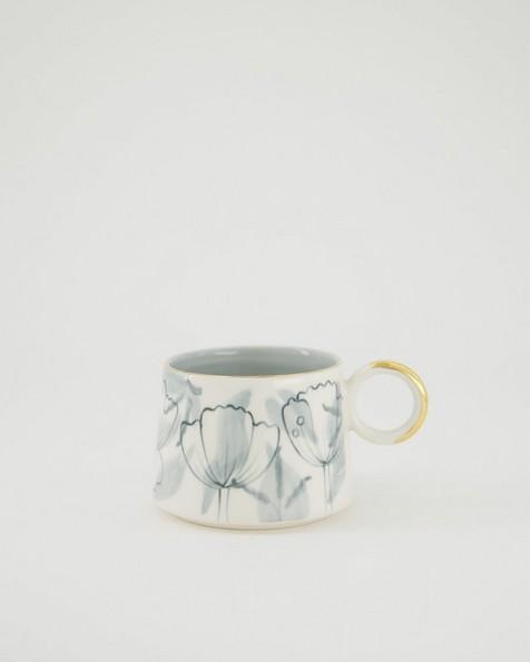 Floral Mug -  grey