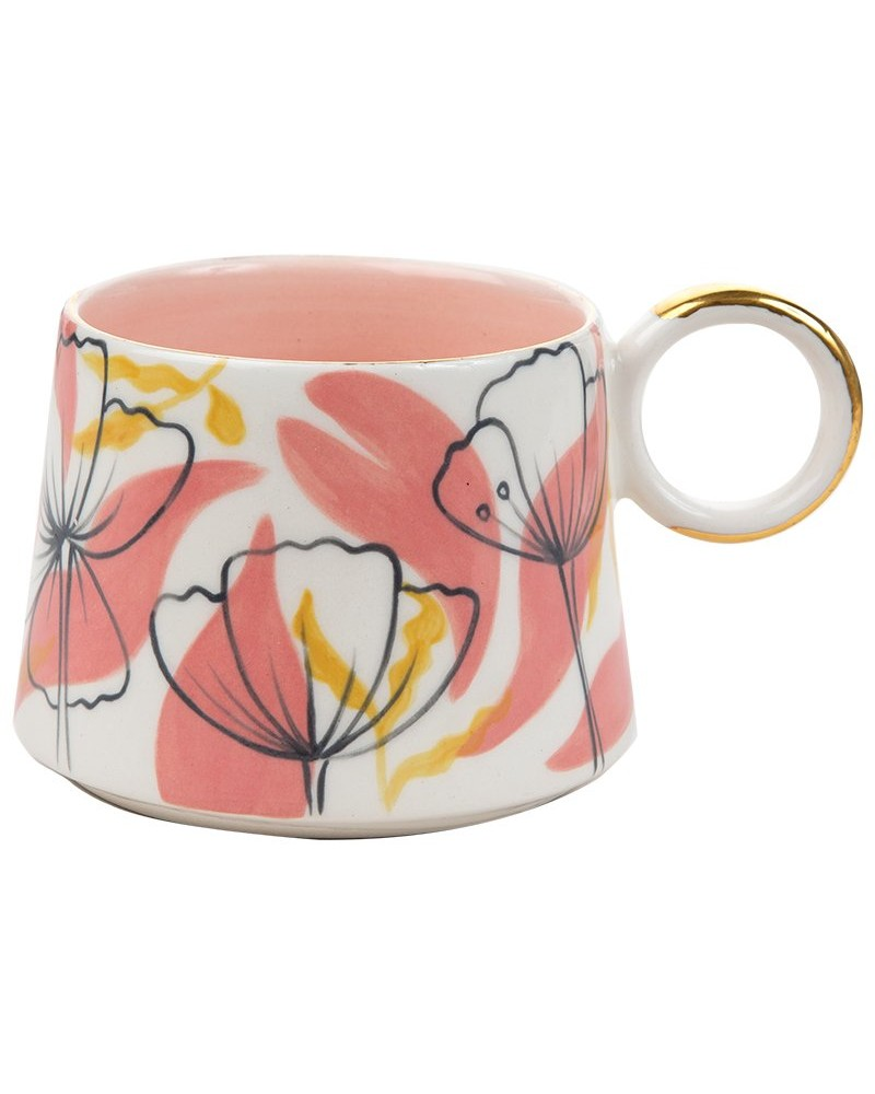 Kapula Grey & Gold Floral Mug -  pink