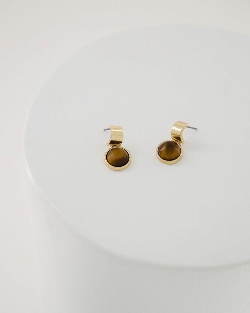 Bar and Circle Drop Earrings -  brown