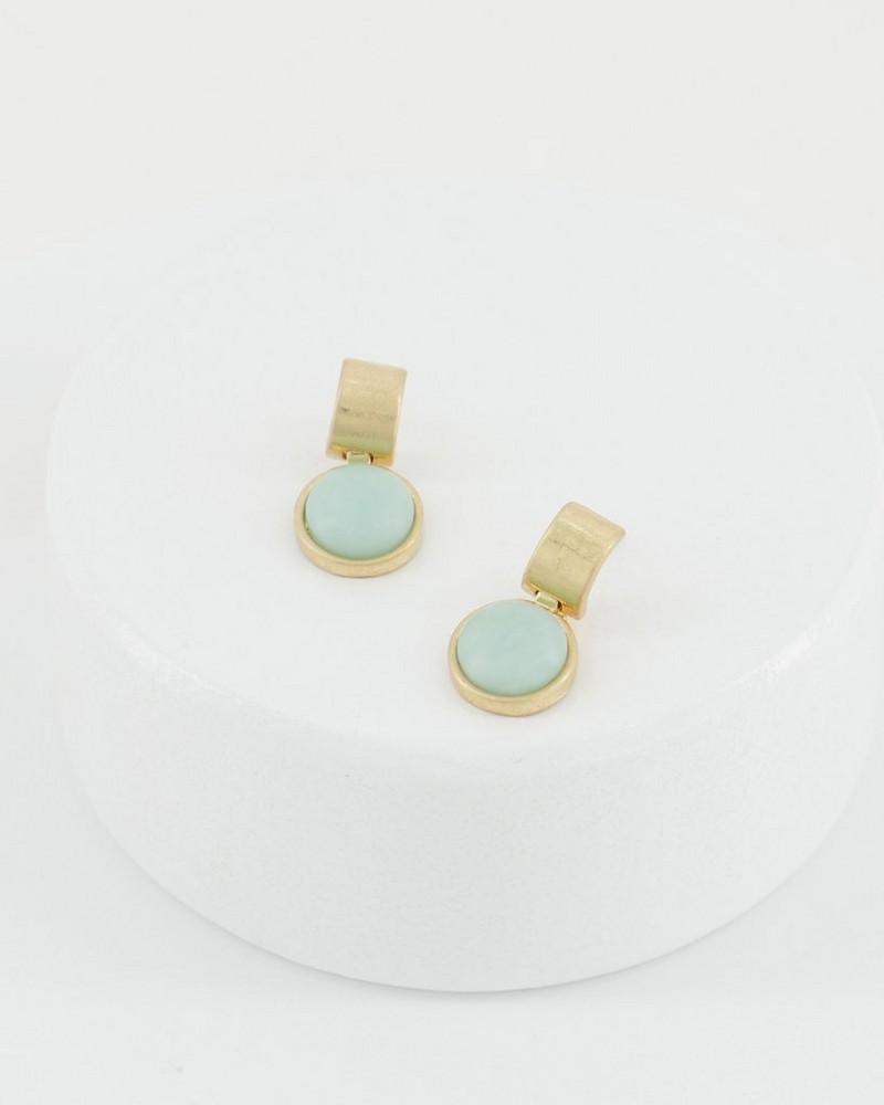 Bar and Circle Drop Earrings -  mint