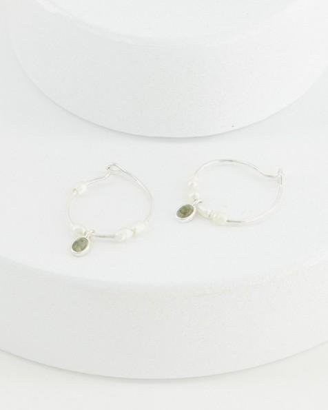 Labradorite Hoop Earrings -  green