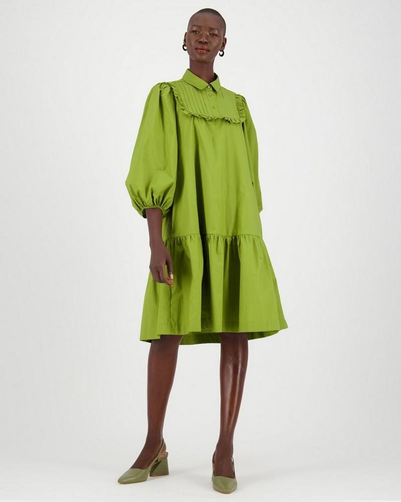 Hana Bib Dress -  green