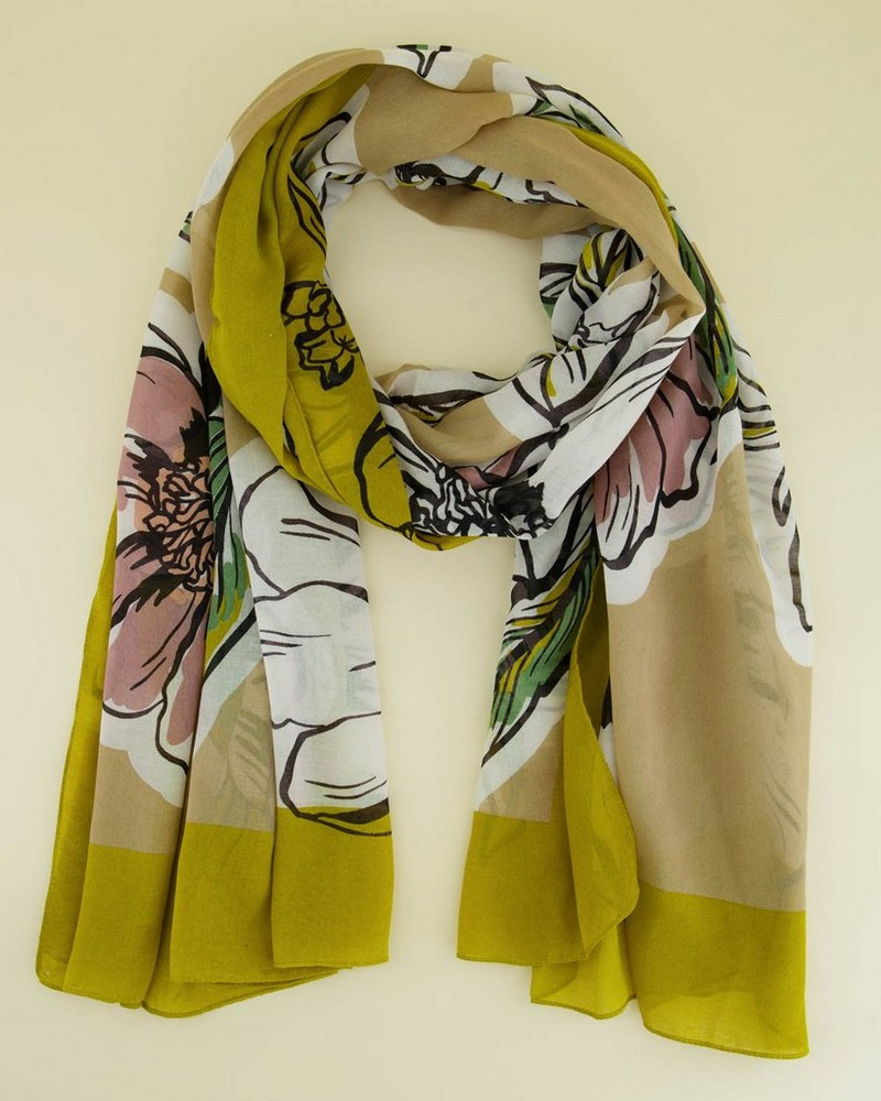 Phoebe Illustrated Floral Scarf -  yellow