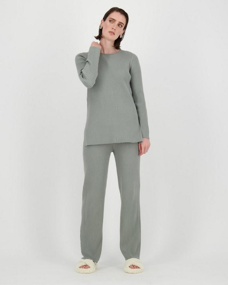 Ribbed Loungewear Set -  palegreen