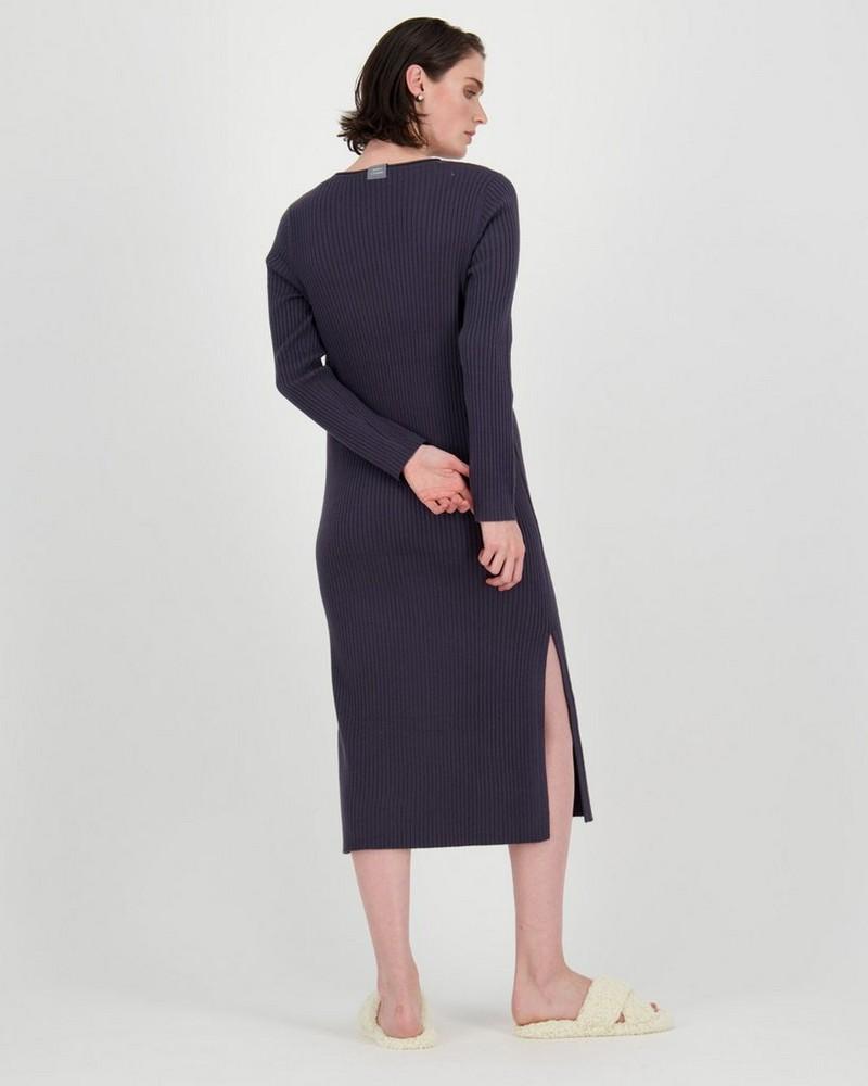 Ribbed Loungewear Dress -  charcoal