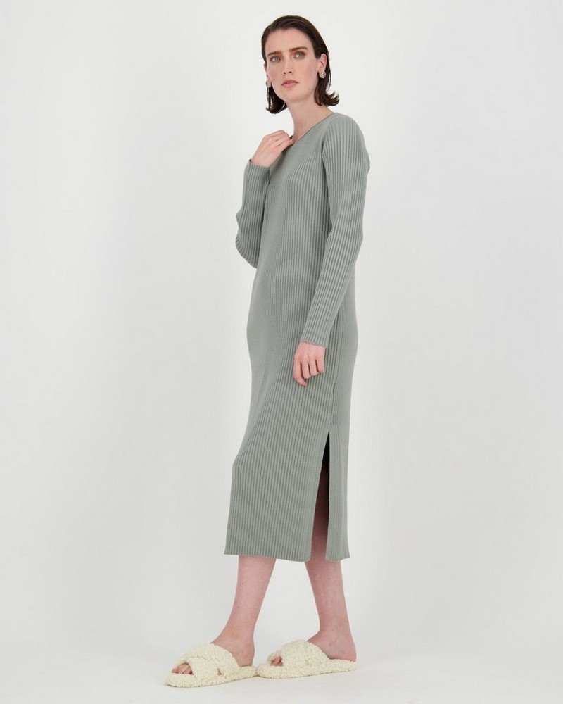Ribbed Loungewear Dress -  palegreen