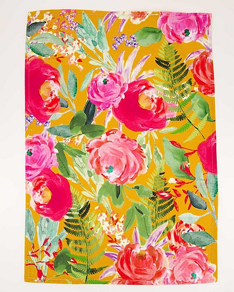 Blooms and Ochre Waffle Tea Towel 2pk -  assorted
