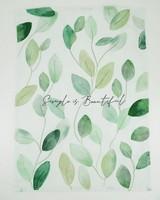 2-Pack Simple Is Beautiful & Leaf Waffle Tea Towels  -  green