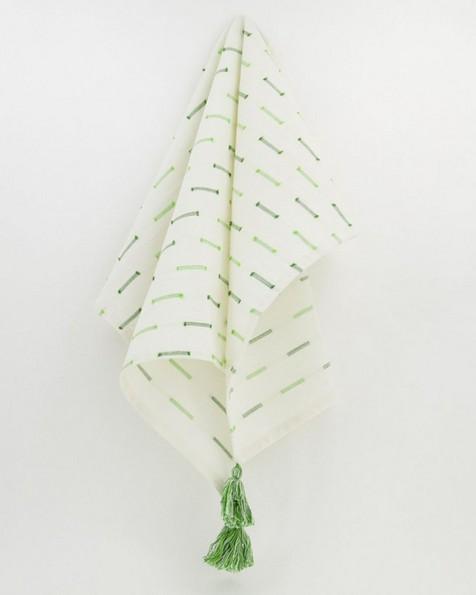Stitch Detail Tea Towel -  green