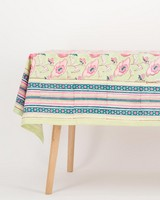 Sage & Pink Flower Block Print Tablecloth -  sage