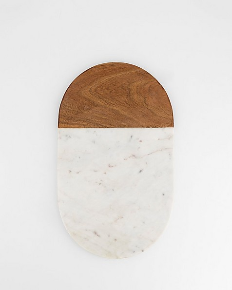 Pill Shaped Marble & Wood Board -  white