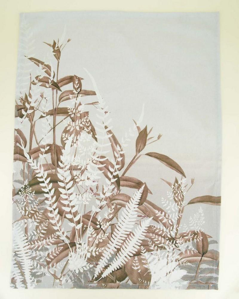 Neutral Ferns Tea Towel -  white