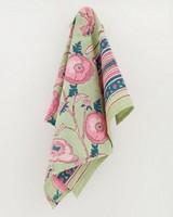 Sage & Pink Flower Block Print Tea Towel -  pink