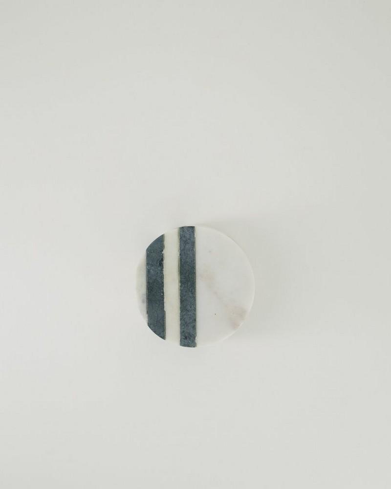 Grey Marble Stripe Coaster Set -  grey
