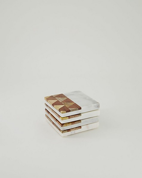 Parquet Wood and Marble Coaster Set -  brown