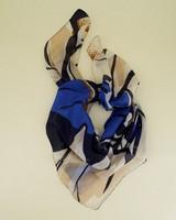 Selene Floral Silk Scarf -  blue