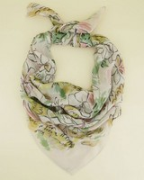 Jamie Floral Square Scarf -  green