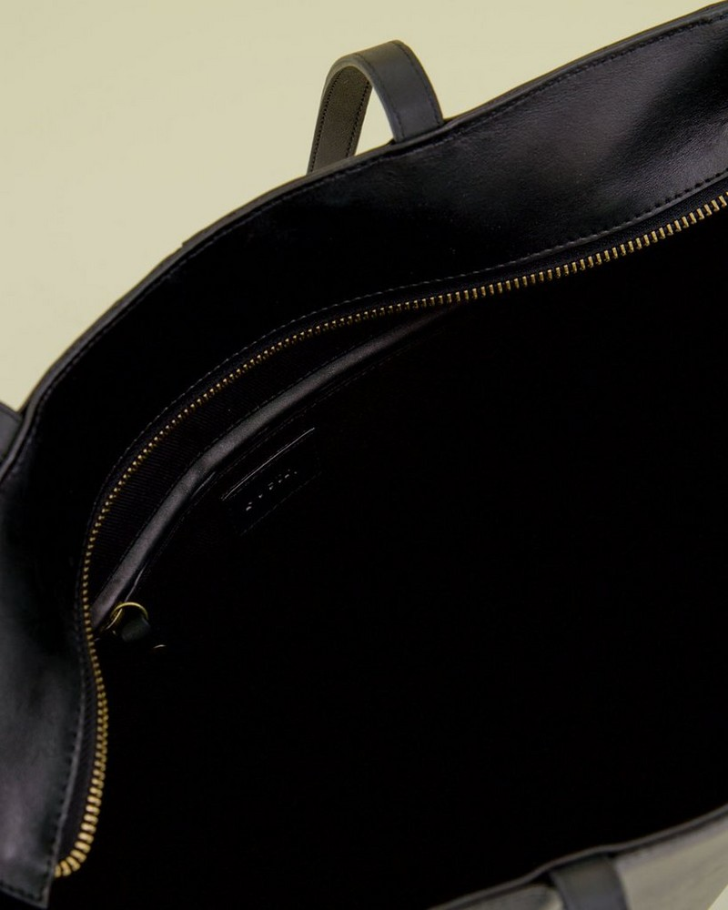 Emily Leather Tote Bag -  black