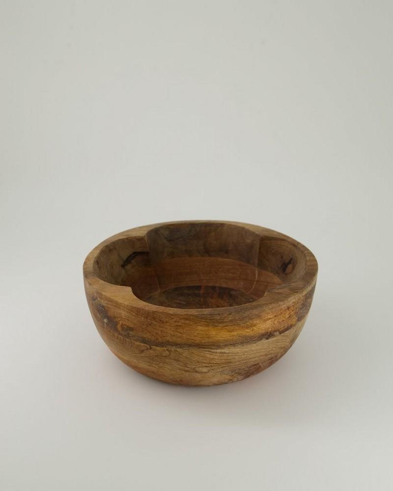 Wooden Flower Bowl Large -  brown