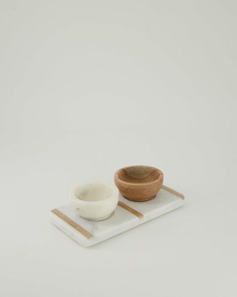 Marble & Wood Tapas Bowl Set -  white
