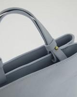 Keily Rectangular Leather Shopper Bag -  midblue