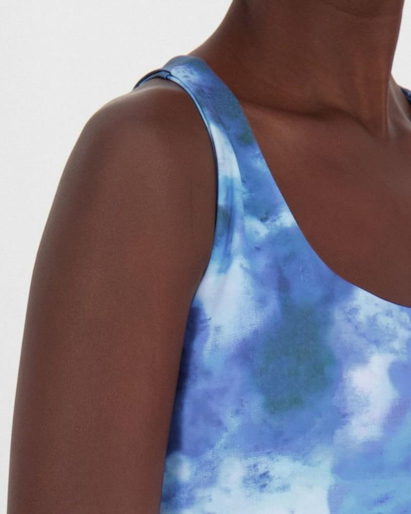 Melani Printed Bralet Top -  midblue