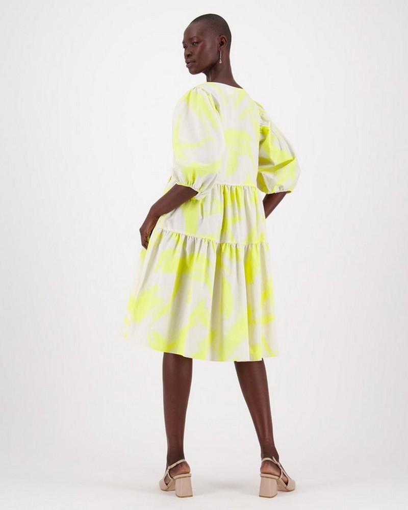 Rey Brushstroke Dress -  lime